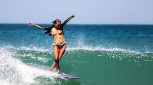 longboarder surfer girl Sri Lanka
