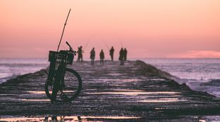 Caparica Beach Sunset Bike Fishing Portugal