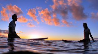 Surfing at sunset Canaries