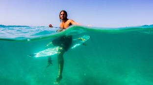 surfing waiting clear water gopro