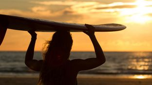 watching the sunset single fin surfboard