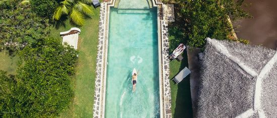 Drone footage of pool